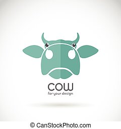 Vector image of a cow head design on brown background, Cow...