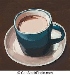 coffee cup, digital painting - coffee cup, digital oil...