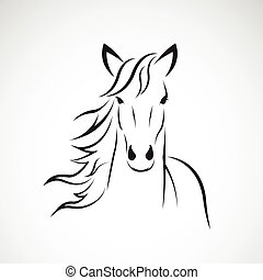 Print - Vector image of a horse head design on white...