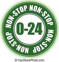 0/24, non-stop business hours opening hours badge, button