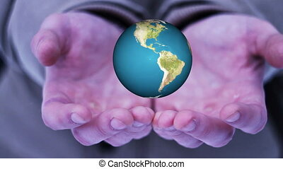 Guy hand holding a realistic Earth. Hands with spinning...