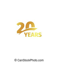 Isolated abstract golden 20th anniversary logo on white...