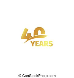 Isolated abstract golden 40th anniversary logo on white...