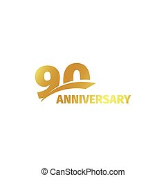 Isolated abstract golden 90th anniversary logo on white...