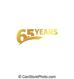 Isolated abstract golden 65th anniversary logo on white...