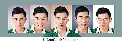 choose a expression of face - concept of a man choose a...