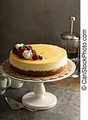 New York cheesecake on a cake stand - Homemade New York...