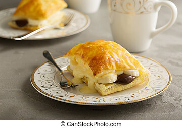 Puff pastry stacks with banana and chocolate - Puff pastry...