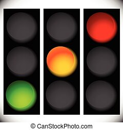Traffic light icons isolated on white. Green, yellow, red...