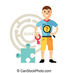 Vector Quest room and man. Flat style colorful Cartoon...