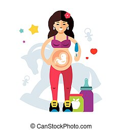 Pregnancy and woman. Flat style colorful Vector Cartoon...
