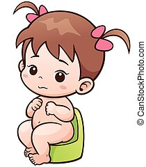 Baby - Vector Illustration of Cartoon Cute Baby sitting on...