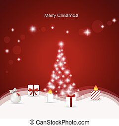 Christmas background with Christmas tree, vector illustration