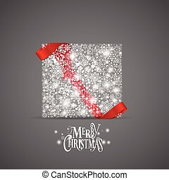 Christmas background with gift box and snowflakes, vector illustration.