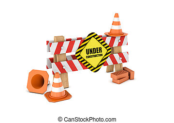 Rendering of wooden barrier with under construction sign and...
