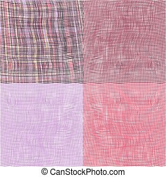 Set of four grunge striped and checkered woven cloth...