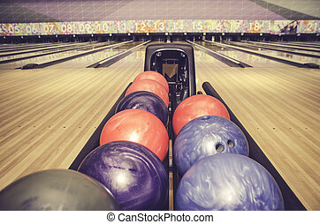 colorful tenpin bowling ball with retro look image