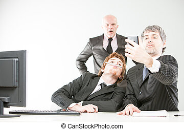 selfie on a workplace is a bad thing - boss surprises two...