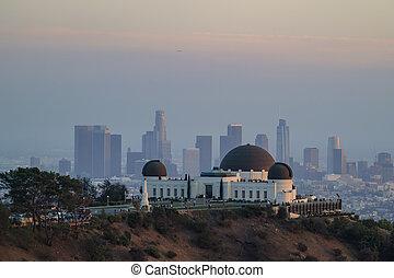 Angeles, griffin, observatório, centro cidade, Los, pôr do...
