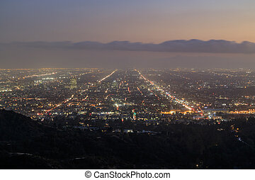 Hollywood area Sunset Cityscape from Griffith Park,...
