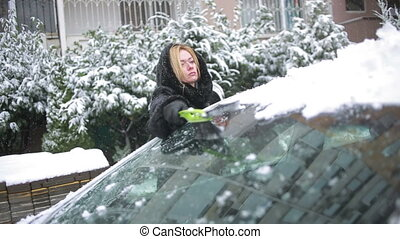 woman cleans snow from car - girl in a mink coat removes...