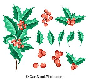 Christmas Holly Berry Set. Vector Illustration