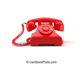 Old style phone with contact us words. 3D rendering.