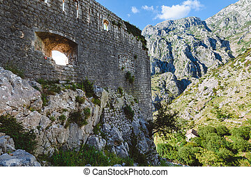 Kotor Fortress and Mountains View - Old Kotor fortress and...