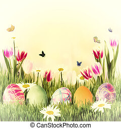 Easter Holiday Background - Easter holiday background with...