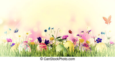 Easter Background with Eggs and Flowers