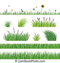 Grass Seamless Elements - Green seamless grass elemnts. Lawn...