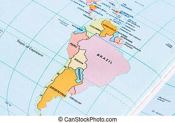 South America political map with labeling.