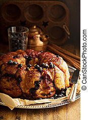 Pull apart monkey bread with orange and blueberry