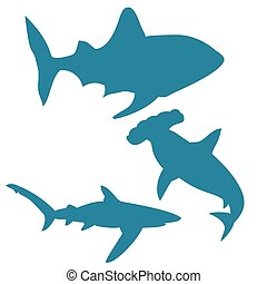 Shark silhouettes vector isolated on white background