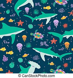 Seamless vector pattern with cute cartoon sharks and fishes...