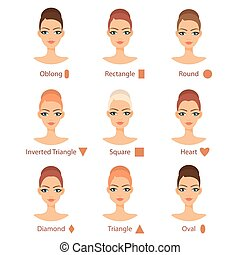 Vector set of different womans face types. Female face...