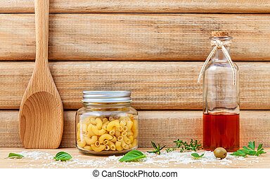 Italian food concept dried pasta with vegetables ,olive oil...