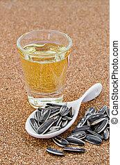 Sementes, óleo, tigela, girassol