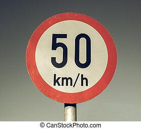 Vintage looking Speed limit sign - Vintage looking Traffic...