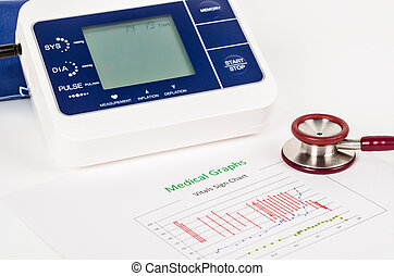 Vitals sign chart, Medical Graphs and Measuring blood pressure with red stethoscope.