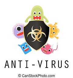 anti-virus shield with virus cartoon