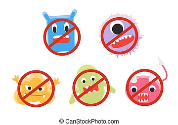 virus cartoon with ban circle vector