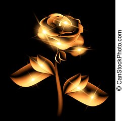 darkness and golden fairy flower - black background and the...