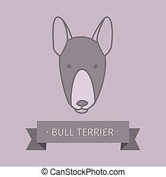 Bull terrier breed dog logo design