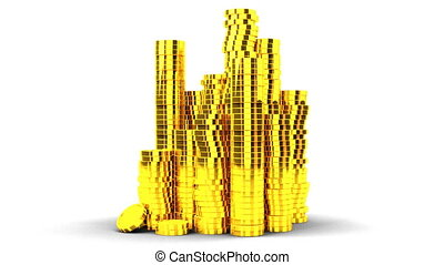 Gold Coins On White Background - Loop able 3DCG render...