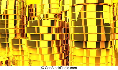 Gold Coins On Yellow Background - Loop able 3DCG render...