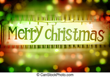 Merry Christmas greeting card, abstract glowing background...