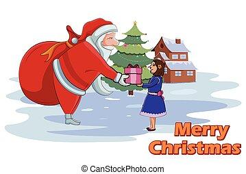 Santa Claus giving Christmas gift to girl