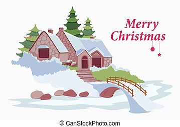Snow covered decorated house for Merry Christmas - vector...