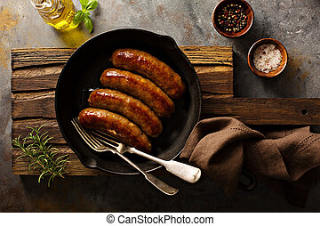 Homemade sausage with herbs and cheese - Homemade sausage...